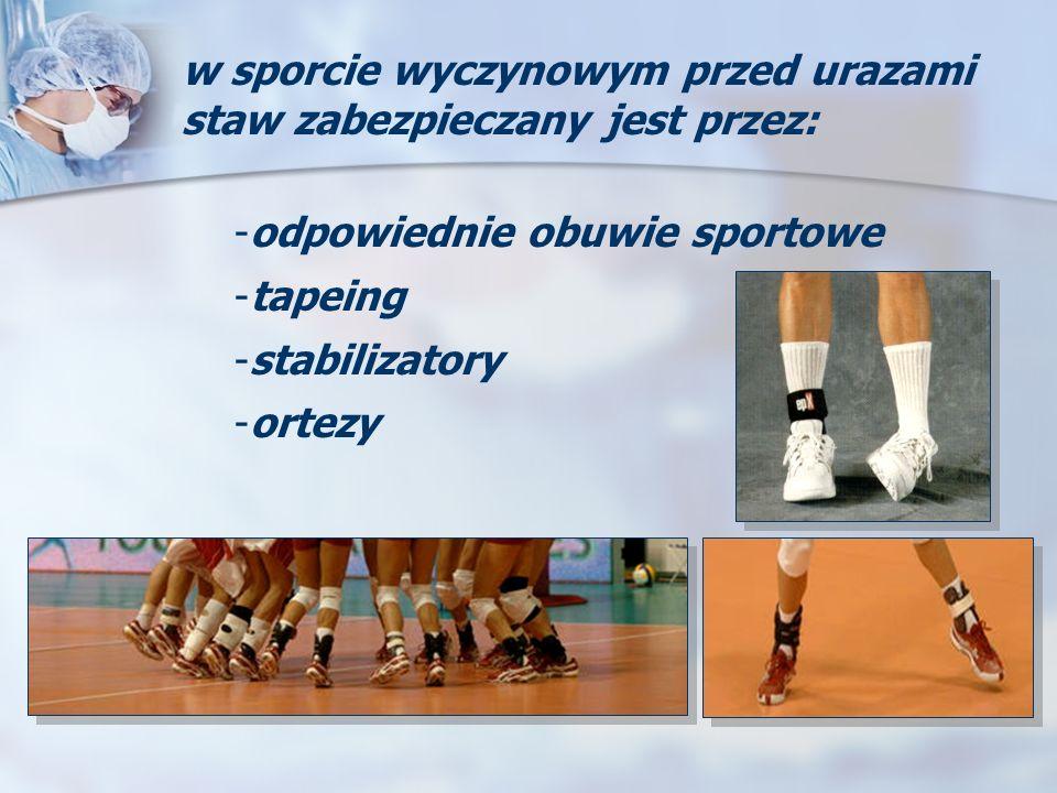 w sporcie wyczynowym przed urazami staw zabezpieczany jest przez: -odpowiednie obuwie sportowe -tapeing -stabilizatory -ortezy