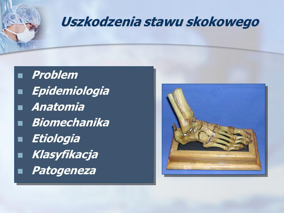 Uszkodzenia stawu skokowego Problem Epidemiologia Anatomia Biomechanika Etiologia Klasyfikacja Patogeneza Problem Epidemiologia Anatomia Biomechanika