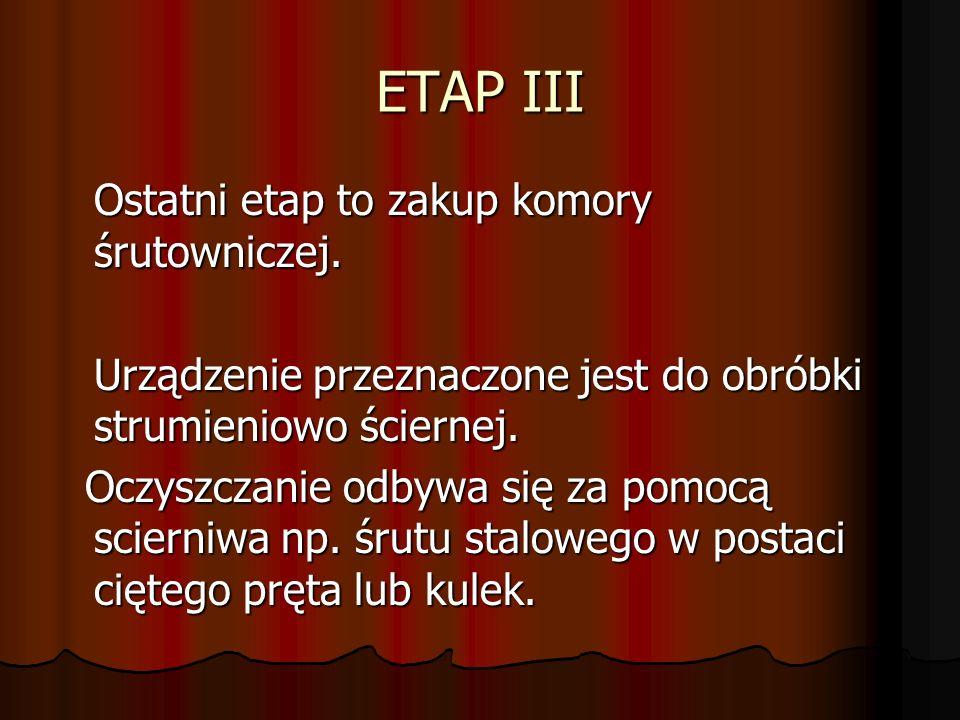 ETAP III Ostatni etap to zakup komory śrutowniczej. Urządzenie przeznaczone jest do obróbki strumieniowo ściernej. Oczyszczanie odbywa się za pomocą s