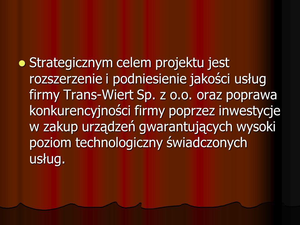 Strategicznym celem projektu jest rozszerzenie i podniesienie jakości usług firmy Trans-Wiert Sp. z o.o. oraz poprawa konkurencyjności firmy poprzez i