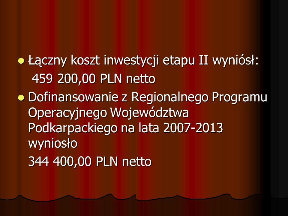 Łączny koszt inwestycji etapu II wyniósł: Łączny koszt inwestycji etapu II wyniósł: 459 200,00 PLN netto 459 200,00 PLN netto Dofinansowanie z Regiona