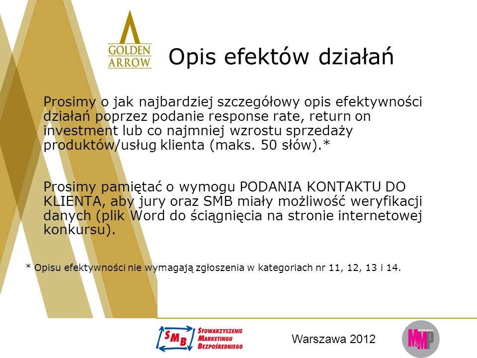Warszawa 2012 Opis efektów działań Prosimy o jak najbardziej szczegółowy opis efektywności działań poprzez podanie response rate, return on investment lub co najmniej wzrostu sprzedaży produktów/usług klienta (maks.