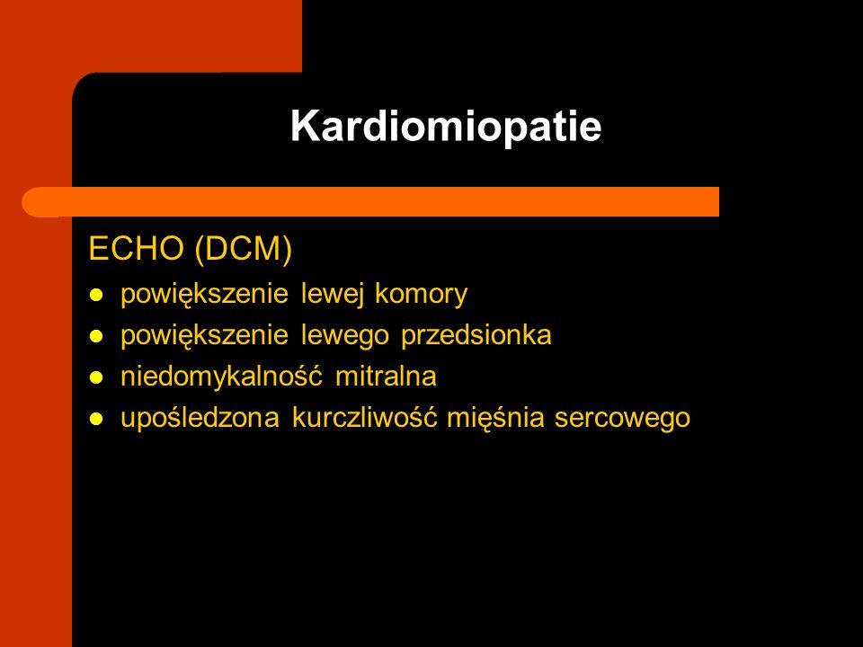 ECHO (DCM) powiększenie lewej komory powiększenie lewego przedsionka niedomykalność mitralna upośledzona kurczliwość mięśnia sercowego Kardiomiopatie