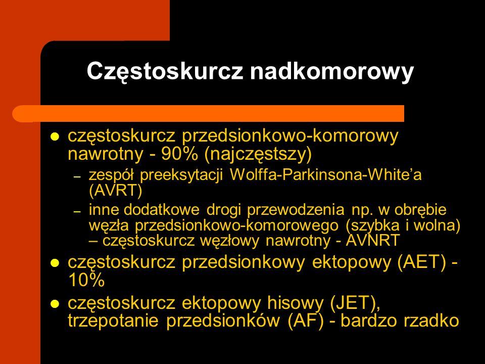 częstoskurcz przedsionkowo-komorowy nawrotny - 90% (najczęstszy) – zespół preeksytacji Wolffa-Parkinsona-Whitea (AVRT) – inne dodatkowe drogi przewodz