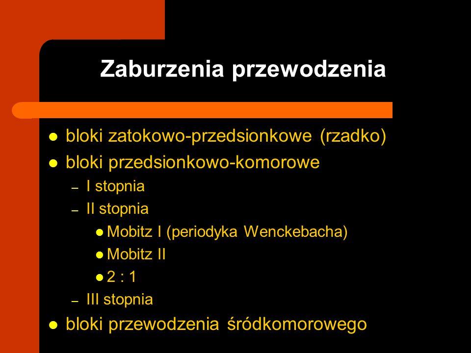 bloki zatokowo-przedsionkowe (rzadko) bloki przedsionkowo-komorowe – I stopnia – II stopnia Mobitz I (periodyka Wenckebacha) Mobitz II 2 : 1 – III sto