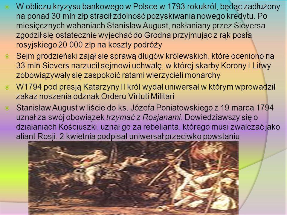 W obliczu kryzysu bankowego w Polsce w 1793 rokukról, będąc zadłużony na ponad 30 mln złp stracił zdolność pozyskiwania nowego kredytu. Po miesięcznyc