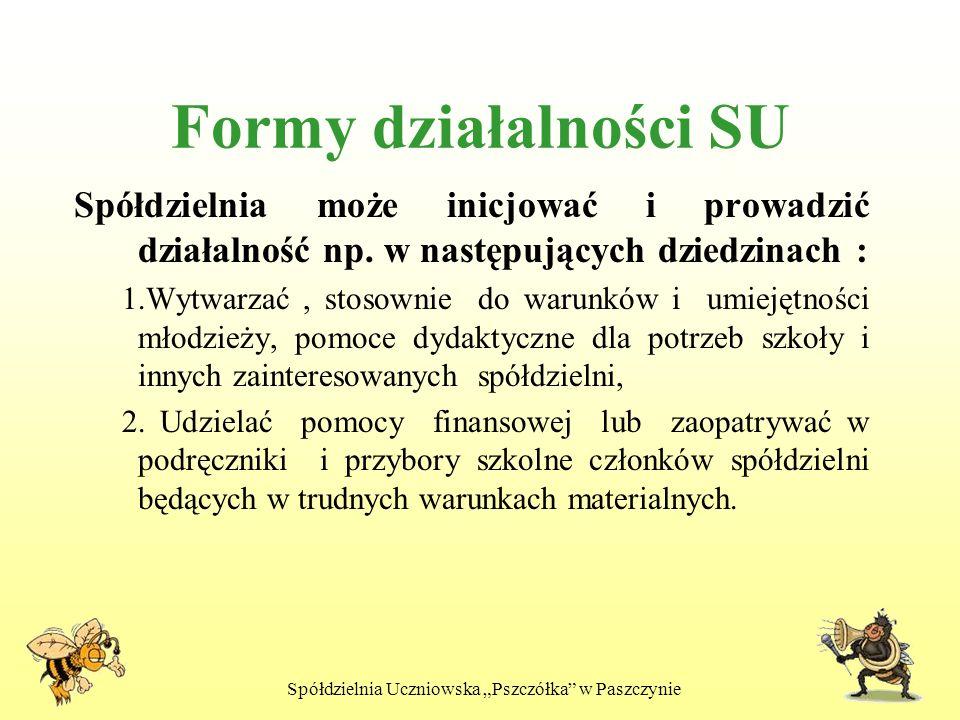 Spółdzielnia Uczniowska Pszczółka w Paszczynie Formy działalności SU Spółdzielnia może inicjować i prowadzić działalność np. w następujących dziedzina