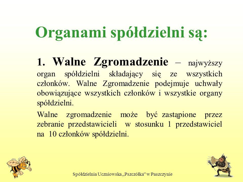 Spółdzielnia Uczniowska Pszczółka w Paszczynie Organami spółdzielni są: 1. Walne Zgromadzenie – najwyższy organ spółdzielni składający się ze wszystki