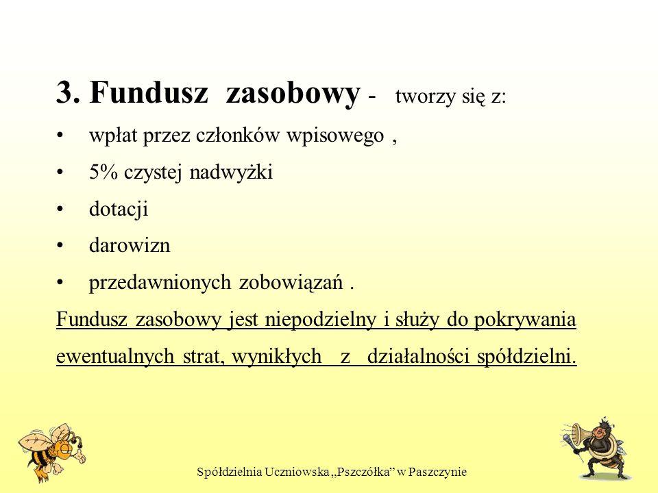 Spółdzielnia Uczniowska Pszczółka w Paszczynie 3. Fundusz zasobowy - tworzy się z: wpłat przez członków wpisowego, 5% czystej nadwyżki dotacji darowiz