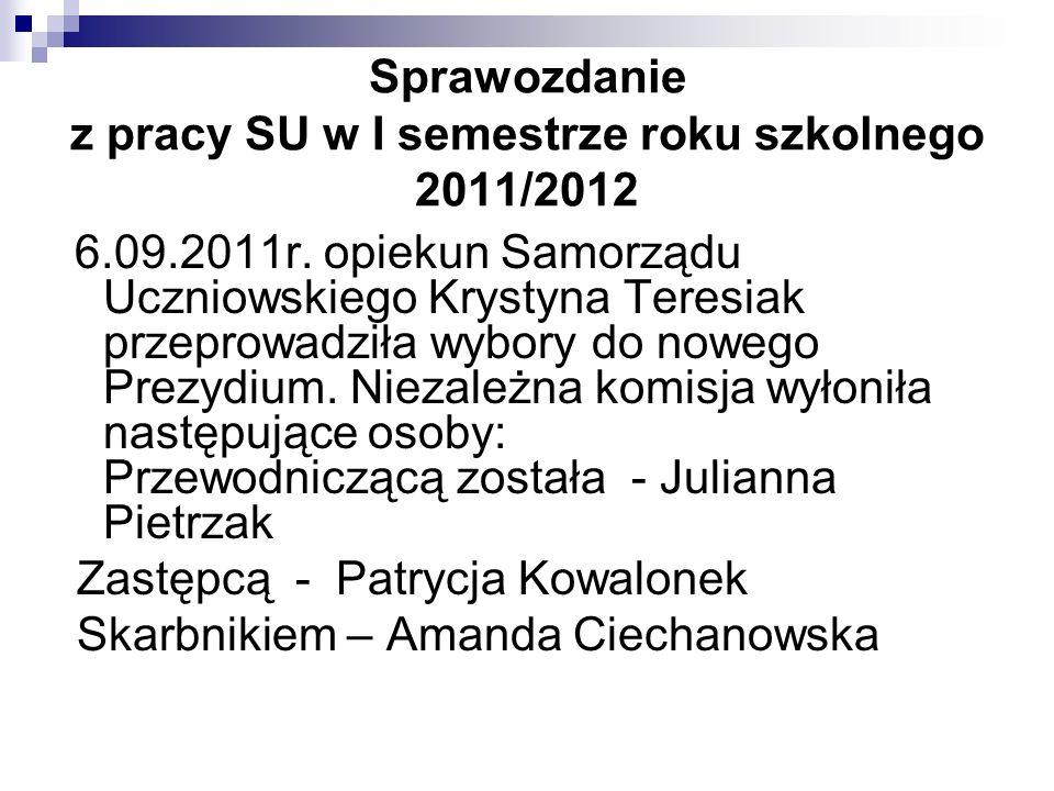 Nowo powołane Prezydium SU opracowało plan pracy na nowy rok szkolny 2011/2012 Od października członkowie SU prowadzą radiowęzeł, współtworzą gazetkę szkolną wraz z panią Martą Jagiełowicz, monitorują losowanie numerków zwalniających z odpowiedzi w danym dniu.