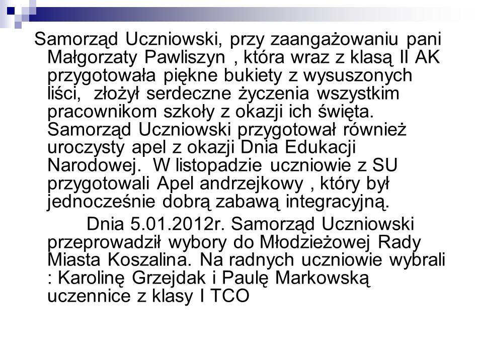 Samorząd Uczniowski, przy zaangażowaniu pani Małgorzaty Pawliszyn, która wraz z klasą II AK przygotowała piękne bukiety z wysuszonych liści, złożył se
