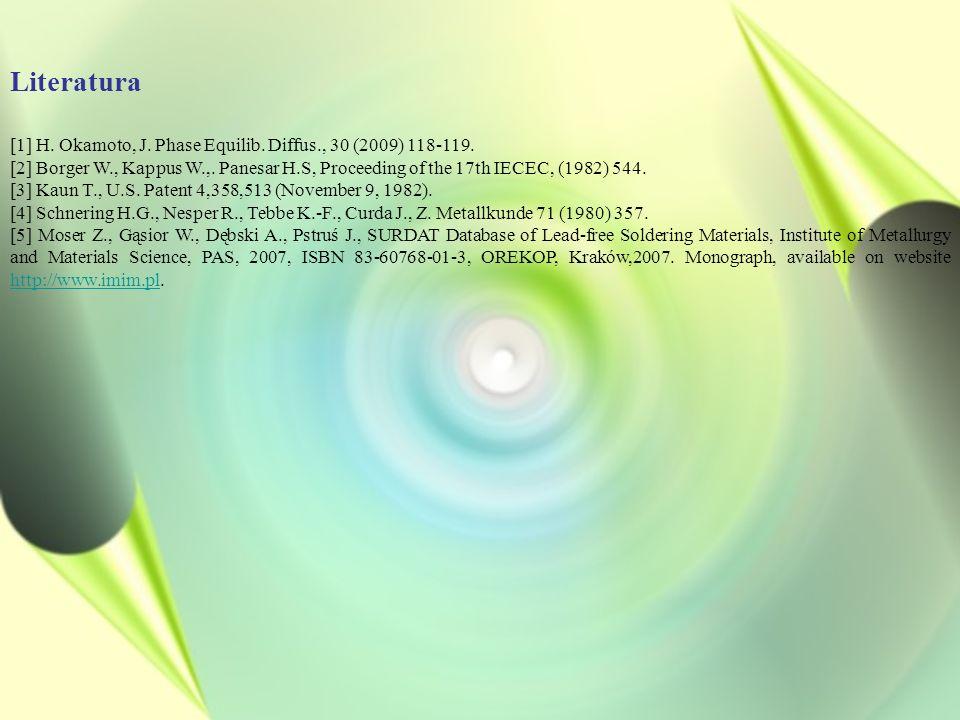 Literatura [1] H. Okamoto, J. Phase Equilib. Diffus., 30 (2009) 118-119. [2] Borger W., Kappus W.,. Panesar H.S, Proceeding of the 17th IECEC, (1982)