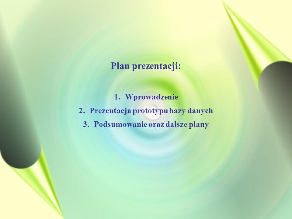 Plan prezentacji: 1.Wprowadzenie 2.Prezentacja prototypu bazy danych 3.Podsumowanie oraz dalsze plany