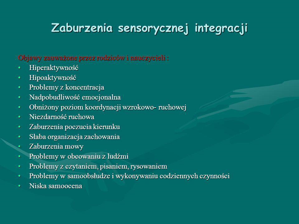 Zaburzenia sensorycznej integracji Objawy zauważone przez rodziców i nauczycieli : HiperaktywnośćHiperaktywność HipoaktywnośćHipoaktywność Problemy z
