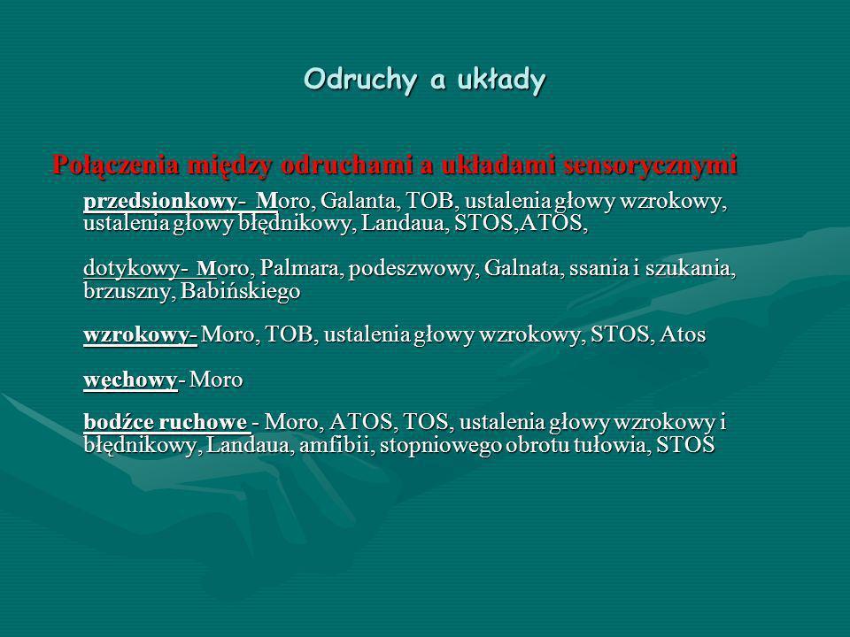 Odruchy a układy Połączenia między odruchami a układami sensorycznymi przedsionkowy- Moro, Galanta, TOB, ustalenia głowy wzrokowy, ustalenia głowy błę