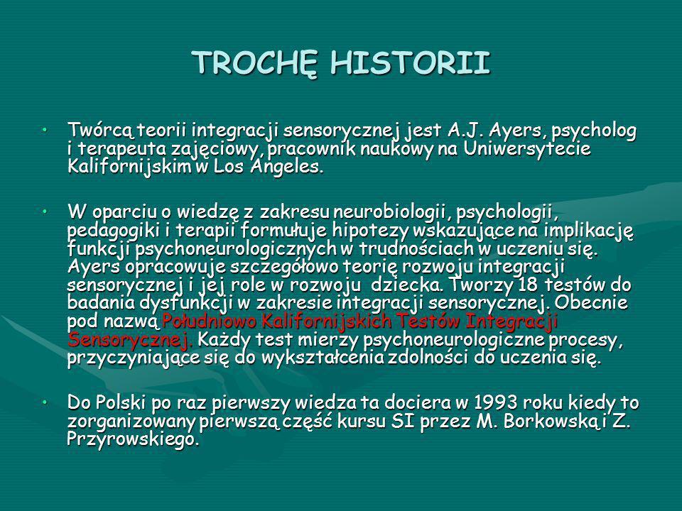 TROCHĘ HISTORII Twórcą teorii integracji sensorycznej jest A.J. Ayers, psycholog i terapeuta zajęciowy, pracownik naukowy na Uniwersytecie Kalifornijs