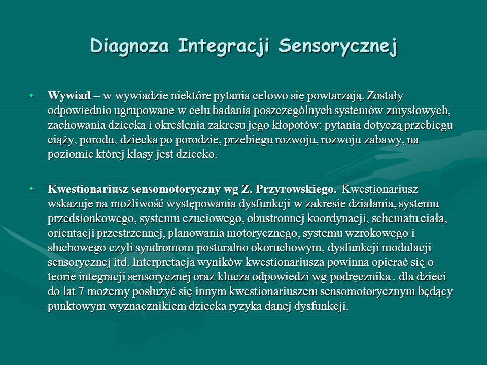 Diagnoza Integracji Sensorycznej Wywiad – w wywiadzie niektóre pytania celowo się powtarzają. Zostały odpowiednio ugrupowane w celu badania poszczegól
