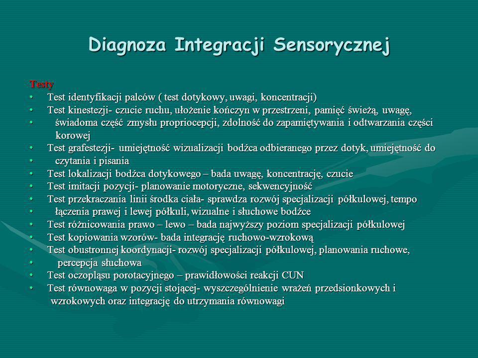 Diagnoza Integracji Sensorycznej Testy Test identyfikacji palców ( test dotykowy, uwagi, koncentracji)Test identyfikacji palców ( test dotykowy, uwagi