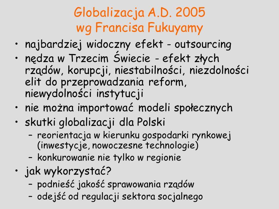 Globalizacja A.D. 2005 wg Francisa Fukuyamy najbardziej widoczny efekt - outsourcing nędza w Trzecim Świecie - efekt złych rządów, korupcji, niestabil