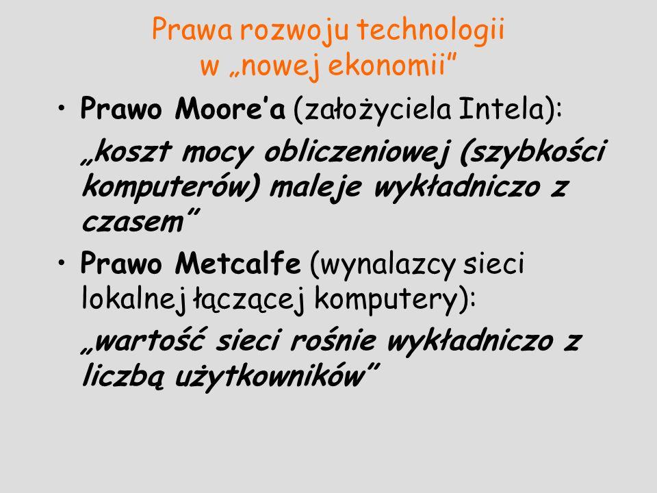 Prawa rozwoju technologii w nowej ekonomii Prawo Moorea (założyciela Intela): koszt mocy obliczeniowej (szybkości komputerów) maleje wykładniczo z cza
