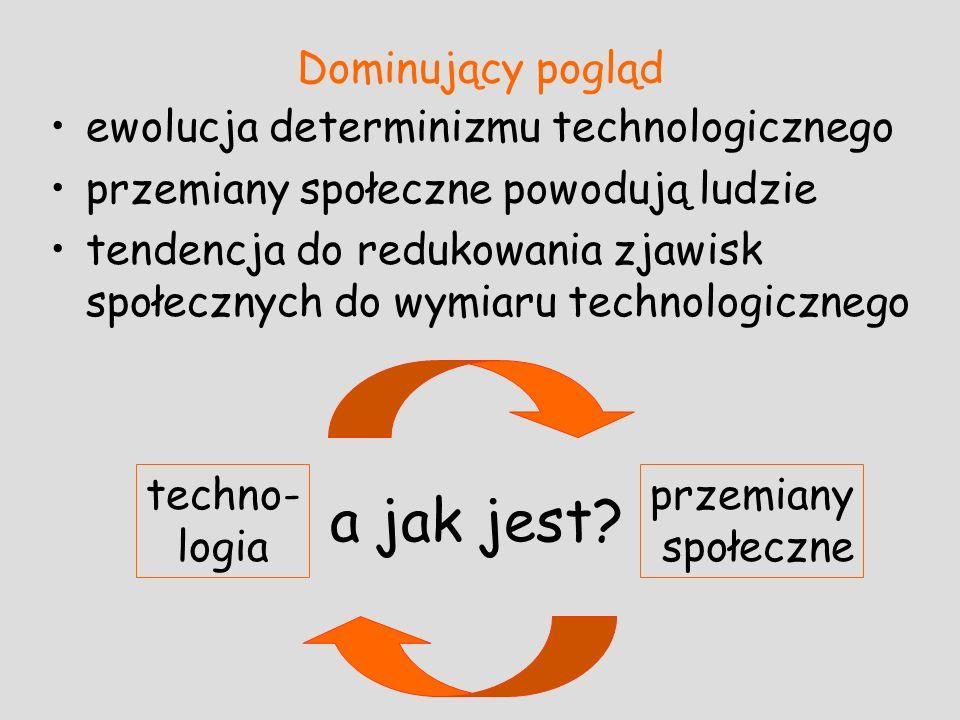 Dominujący pogląd ewolucja determinizmu technologicznego przemiany społeczne powodują ludzie tendencja do redukowania zjawisk społecznych do wymiaru t