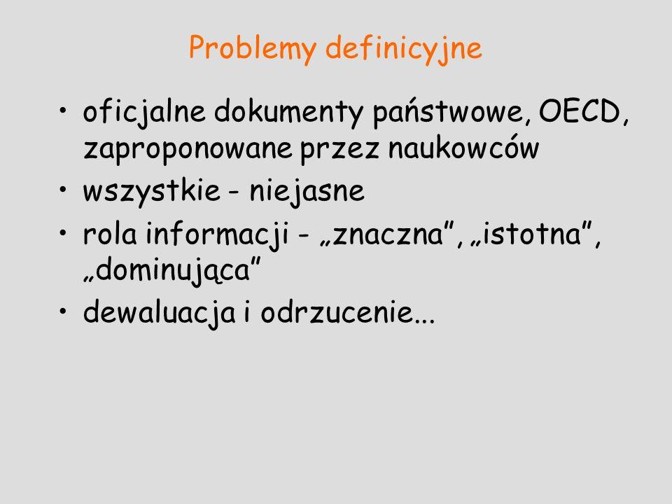 Problemy definicyjne oficjalne dokumenty państwowe, OECD, zaproponowane przez naukowców wszystkie - niejasne rola informacji - znaczna, istotna, domin