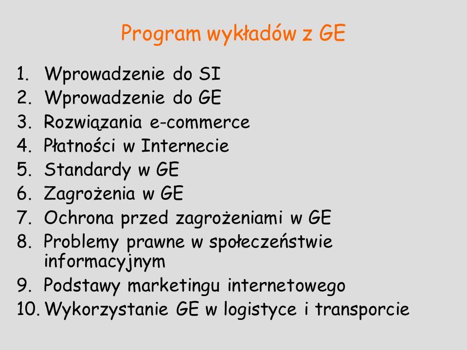 Program wykładów z GE 1.Wprowadzenie do SI 2.Wprowadzenie do GE 3.Rozwiązania e-commerce 4.Płatności w Internecie 5.Standardy w GE 6.Zagrożenia w GE 7
