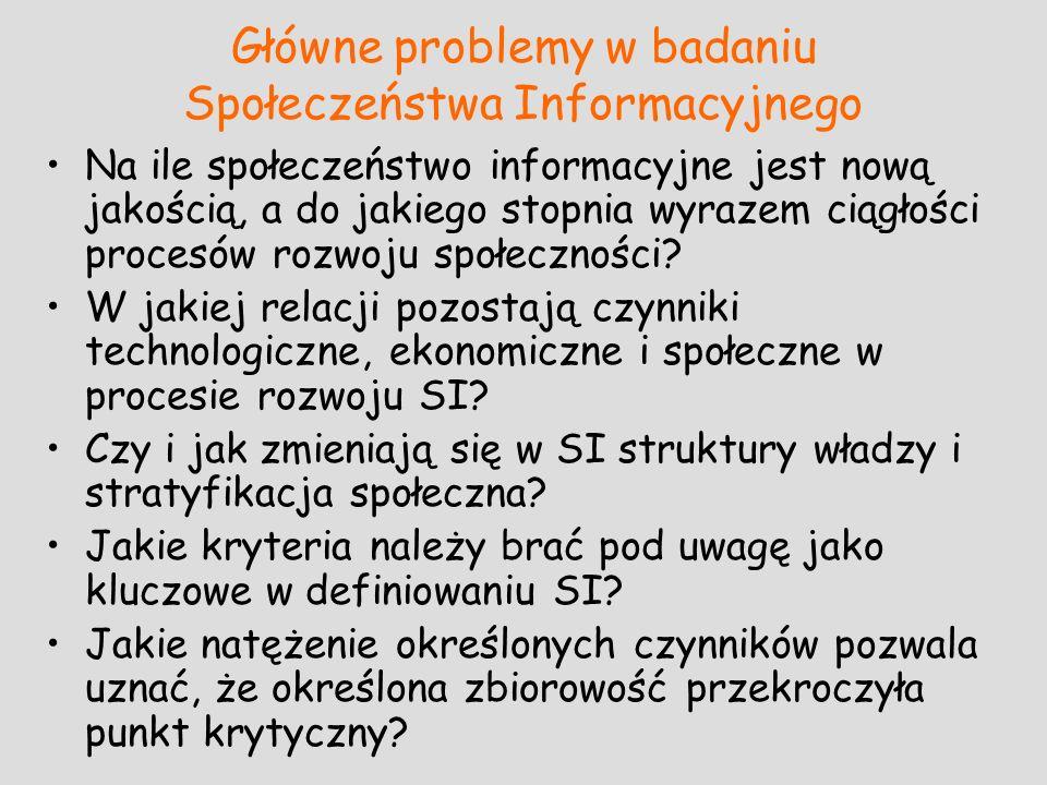 Główne problemy w badaniu Społeczeństwa Informacyjnego Na ile społeczeństwo informacyjne jest nową jakością, a do jakiego stopnia wyrazem ciągłości pr