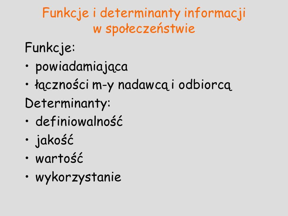 Funkcje i determinanty informacji w społeczeństwie Funkcje: powiadamiająca łączności m-y nadawcą i odbiorcą Determinanty: definiowalność jakość wartoś