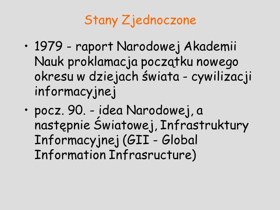 Stany Zjednoczone 1979 - raport Narodowej Akademii Nauk proklamacja początku nowego okresu w dziejach świata - cywilizacji informacyjnej pocz. 90. - i