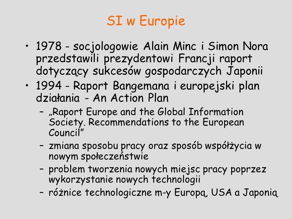 SI w Europie 1978 - socjologowie Alain Minc i Simon Nora przedstawili prezydentowi Francji raport dotyczący sukcesów gospodarczych Japonii 1994 - Rapo