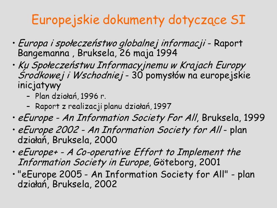 Europejskie dokumenty dotyczące SI Europa i społeczeństwo globalnej informacji - Raport Bangemanna, Bruksela, 26 maja 1994 Ku Społeczeństwu Informacyj