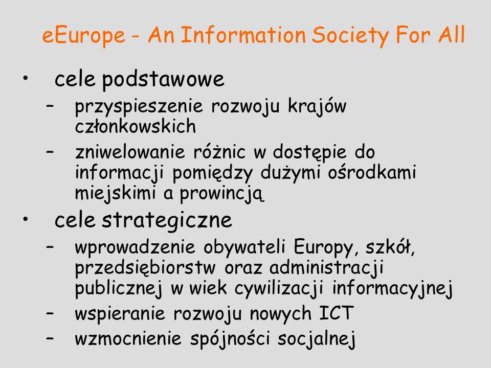eEurope - An Information Society For All cele podstawowe –przyspieszenie rozwoju krajów członkowskich –zniwelowanie różnic w dostępie do informacji po