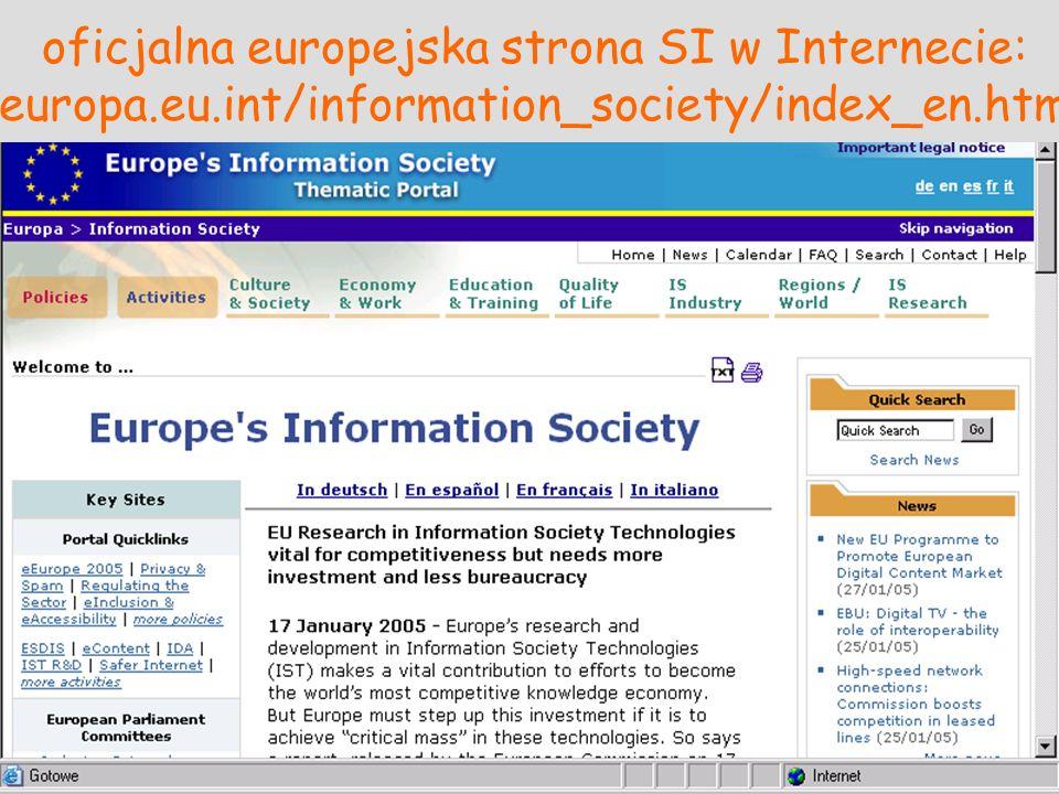 oficjalna europejska strona SI w Internecie: europa.eu.int/information_society/index_en.htm