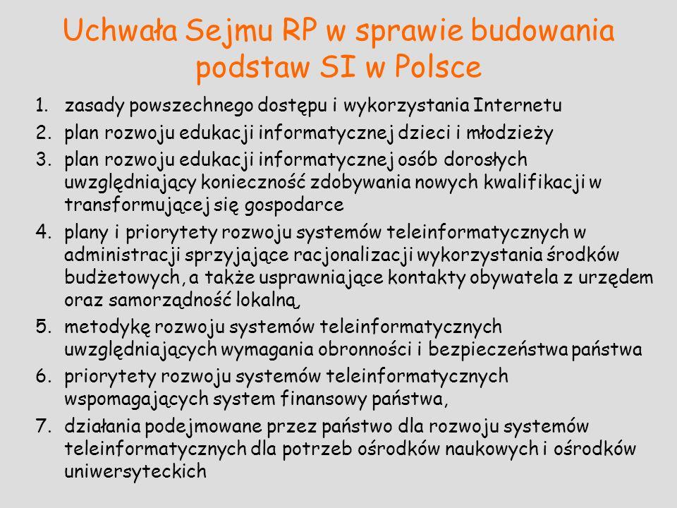 Uchwała Sejmu RP w sprawie budowania podstaw SI w Polsce 1.zasady powszechnego dostępu i wykorzystania Internetu 2.plan rozwoju edukacji informatyczne