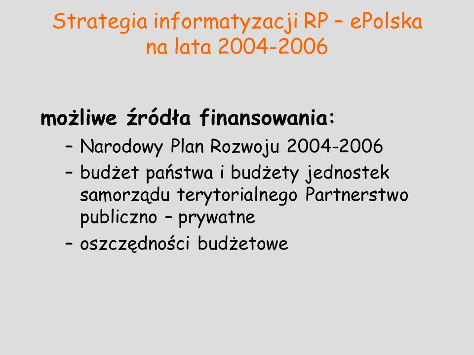 Strategia informatyzacji RP – ePolska na lata 2004-2006 możliwe źródła finansowania: –Narodowy Plan Rozwoju 2004-2006 –budżet państwa i budżety jednos
