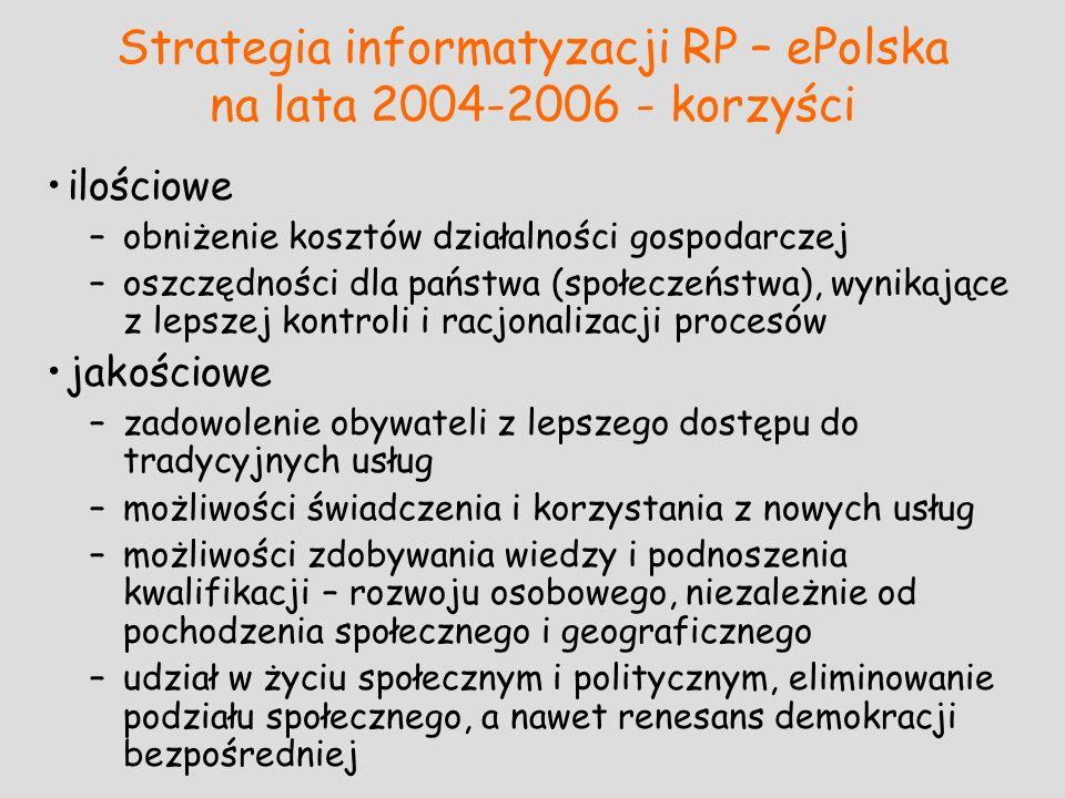 Strategia informatyzacji RP – ePolska na lata 2004-2006 - korzyści ilościowe –obniżenie kosztów działalności gospodarczej –oszczędności dla państwa (s