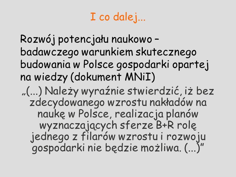I co dalej... Rozwój potencjału naukowo – badawczego warunkiem skutecznego budowania w Polsce gospodarki opartej na wiedzy (dokument MNiI) (...) Należ