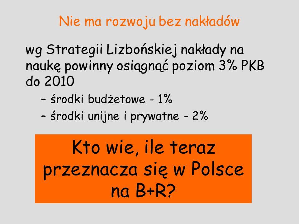 Nie ma rozwoju bez nakładów wg Strategii Lizbońskiej nakłady na naukę powinny osiągnąć poziom 3% PKB do 2010 –środki budżetowe - 1% –środki unijne i p