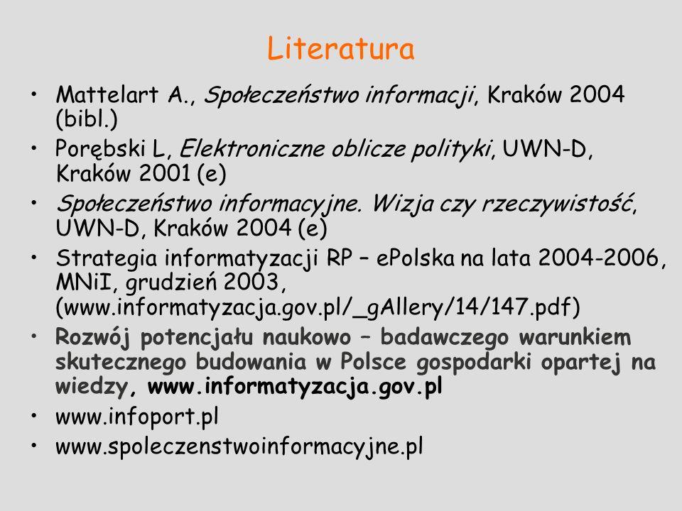 Literatura Mattelart A., Społeczeństwo informacji, Kraków 2004 (bibl.) Porębski L, Elektroniczne oblicze polityki, UWN-D, Kraków 2001 (e) Społeczeństw