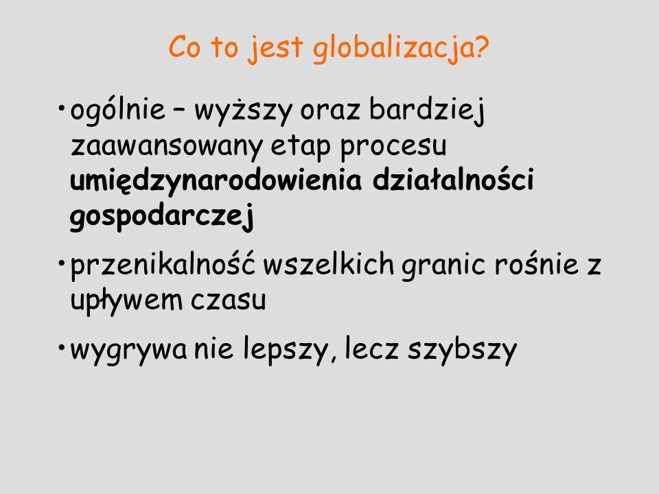 Co to jest globalizacja? ogólnie – wyższy oraz bardziej zaawansowany etap procesu umiędzynarodowienia działalności gospodarczej przenikalność wszelkic