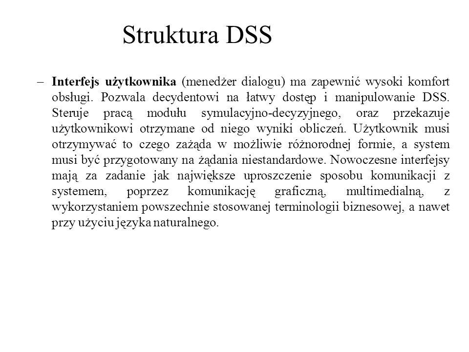 –Interfejs użytkownika (menedżer dialogu) ma zapewnić wysoki komfort obsługi. Pozwala decydentowi na łatwy dostęp i manipulowanie DSS. Steruje pracą m