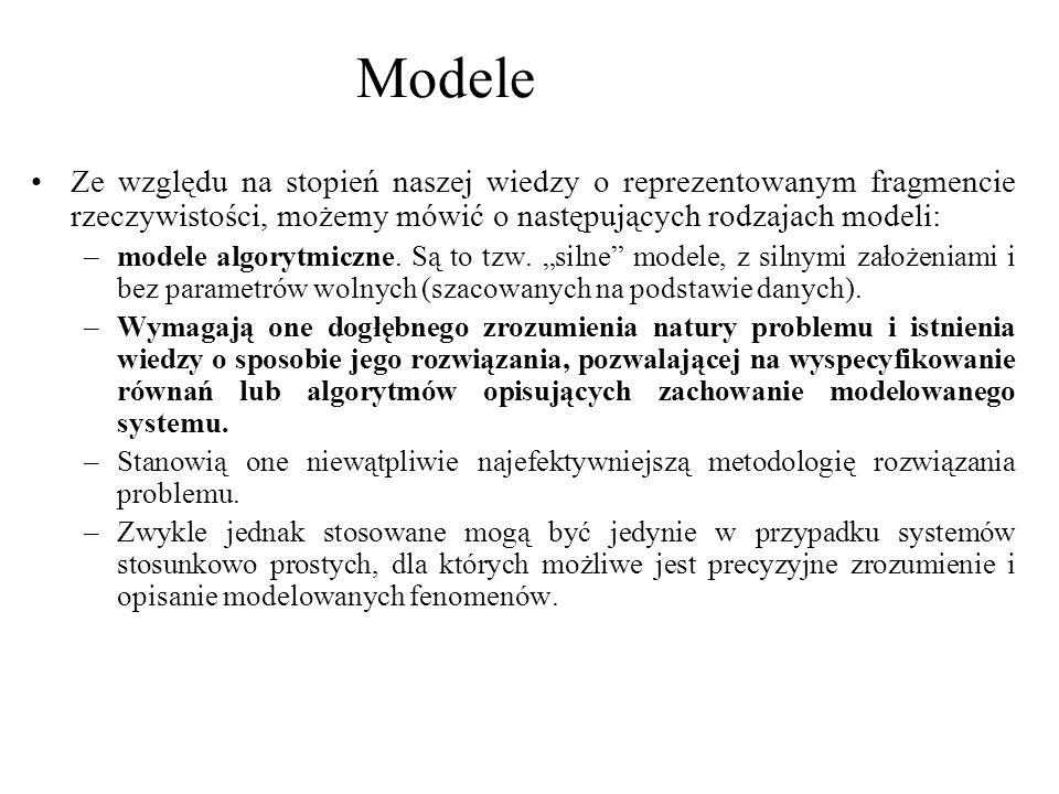 Ze względu na stopień naszej wiedzy o reprezentowanym fragmencie rzeczywistości, możemy mówić o następujących rodzajach modeli: –modele algorytmiczne.