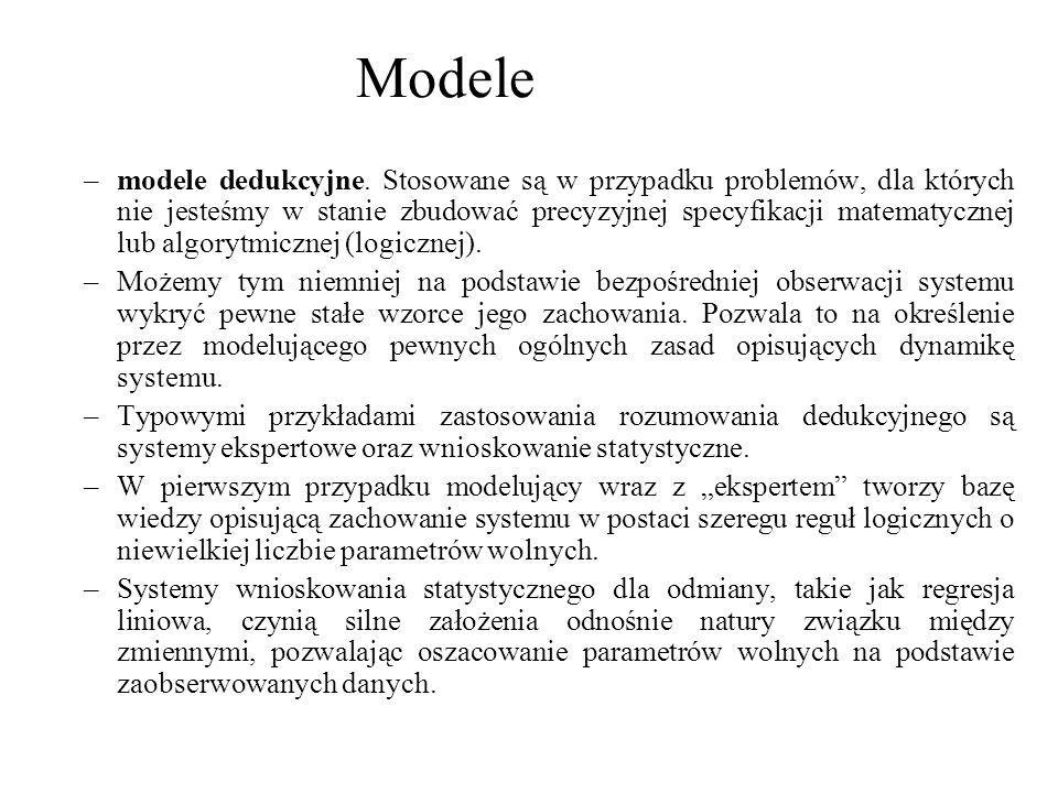 –modele dedukcyjne. Stosowane są w przypadku problemów, dla których nie jesteśmy w stanie zbudować precyzyjnej specyfikacji matematycznej lub algorytm