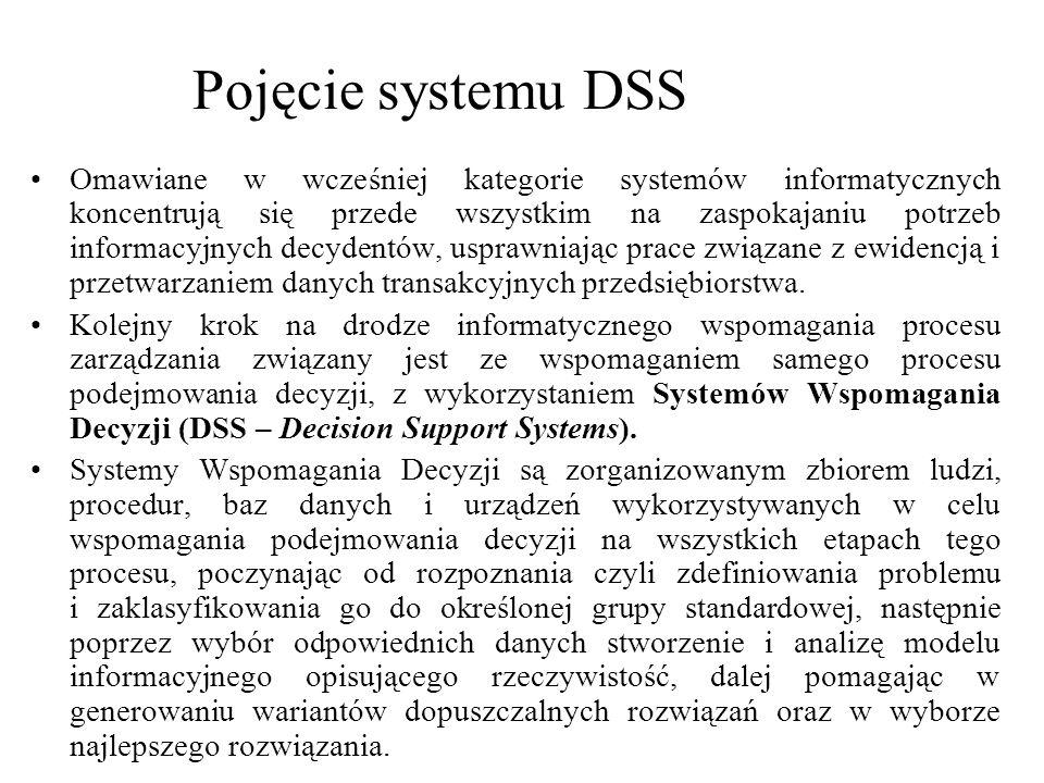 Omawiane w wcześniej kategorie systemów informatycznych koncentrują się przede wszystkim na zaspokajaniu potrzeb informacyjnych decydentów, usprawniaj