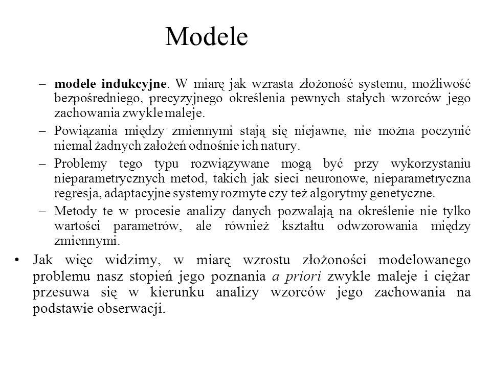 –modele indukcyjne. W miarę jak wzrasta złożoność systemu, możliwość bezpośredniego, precyzyjnego określenia pewnych stałych wzorców jego zachowania z