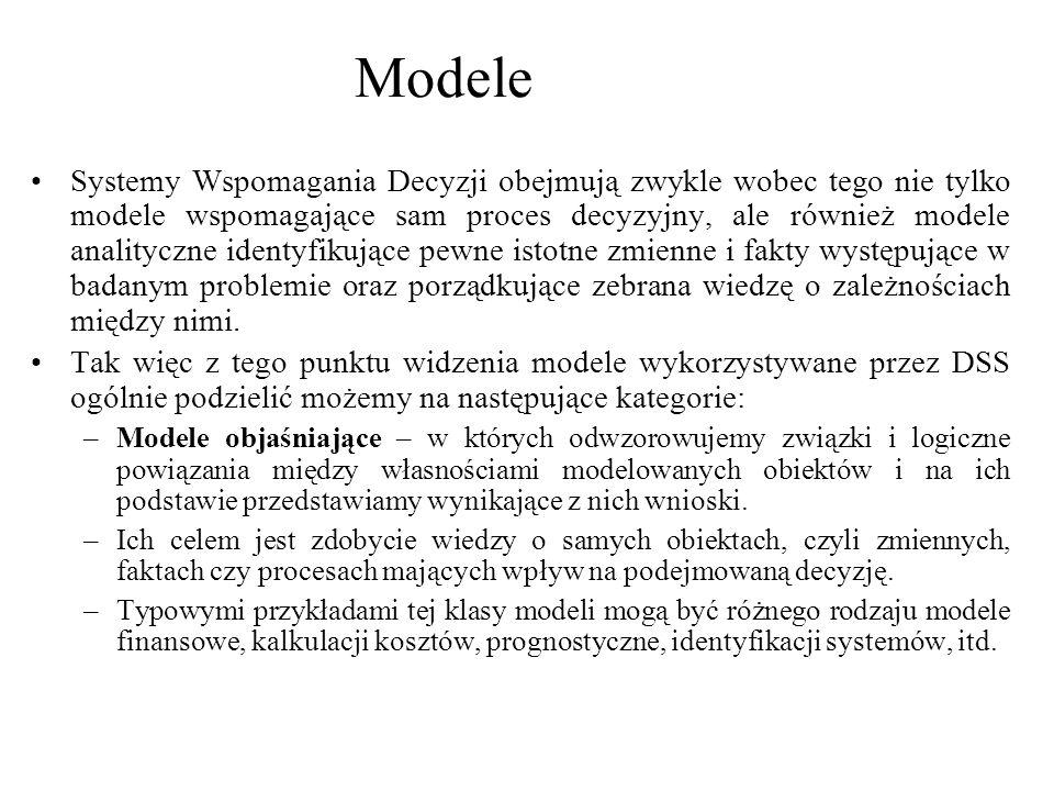 Systemy Wspomagania Decyzji obejmują zwykle wobec tego nie tylko modele wspomagające sam proces decyzyjny, ale również modele analityczne identyfikują
