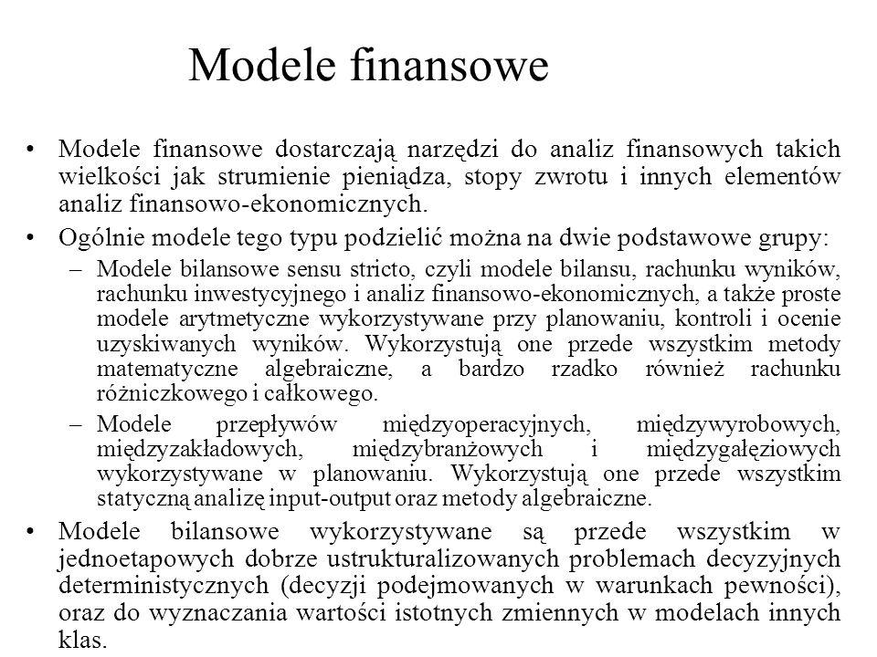 Modele finansowe dostarczają narzędzi do analiz finansowych takich wielkości jak strumienie pieniądza, stopy zwrotu i innych elementów analiz finansow