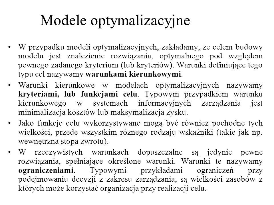 W przypadku modeli optymalizacyjnych, zakładamy, że celem budowy modelu jest znalezienie rozwiązania, optymalnego pod względem pewnego zadanego kryter