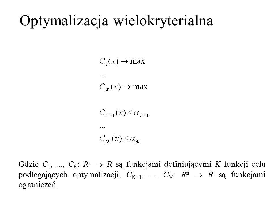 Gdzie C 1,..., C K : R n R są funkcjami definiującymi K funkcji celu podlegających optymalizacji, C K+1,..., C M : R n R są funkcjami ograniczeń. Opty
